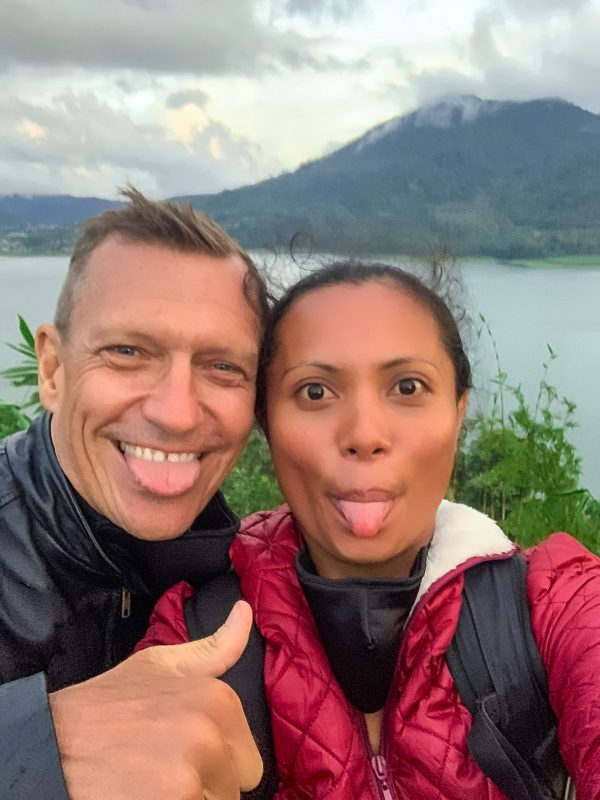 being silly on top of the world in Bali