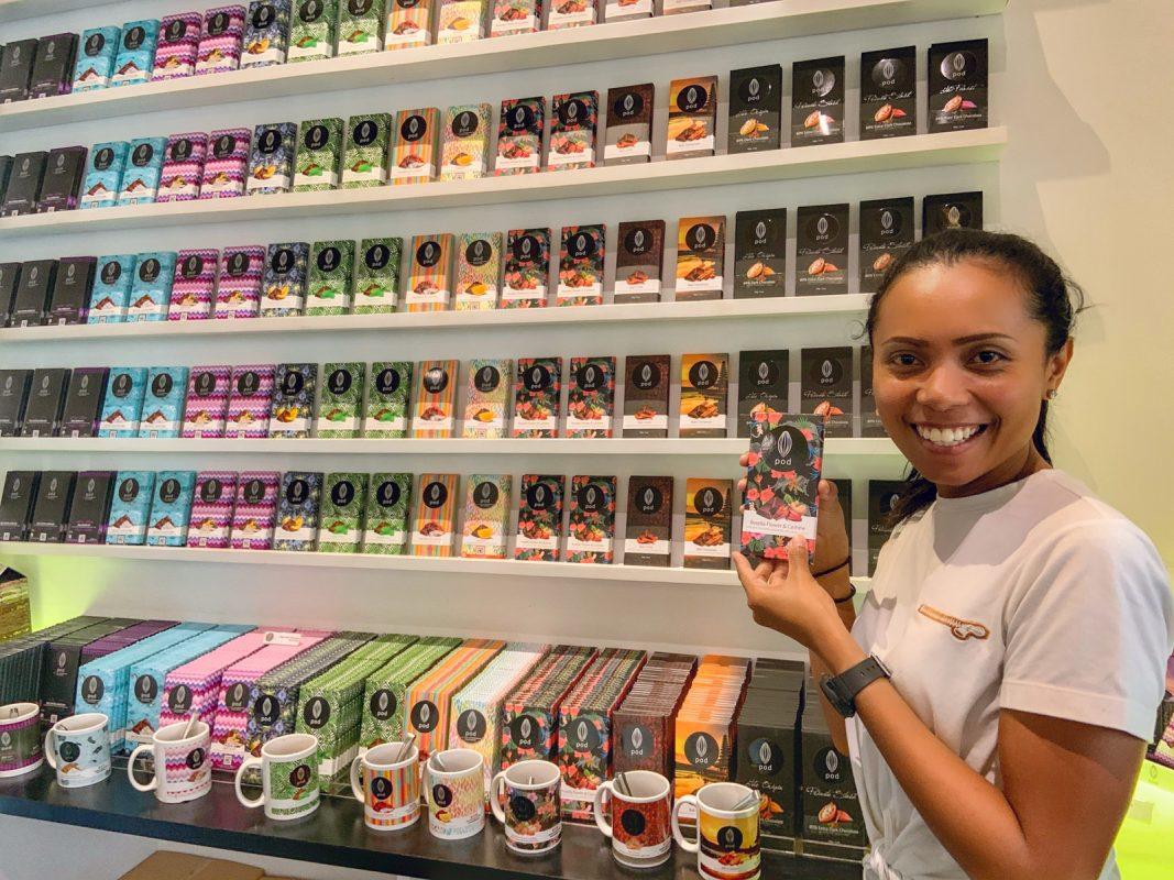 choosing chocolate at Pod Chocolate Bali