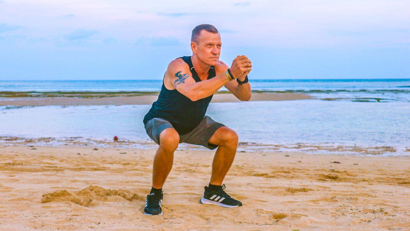 squats on the beach