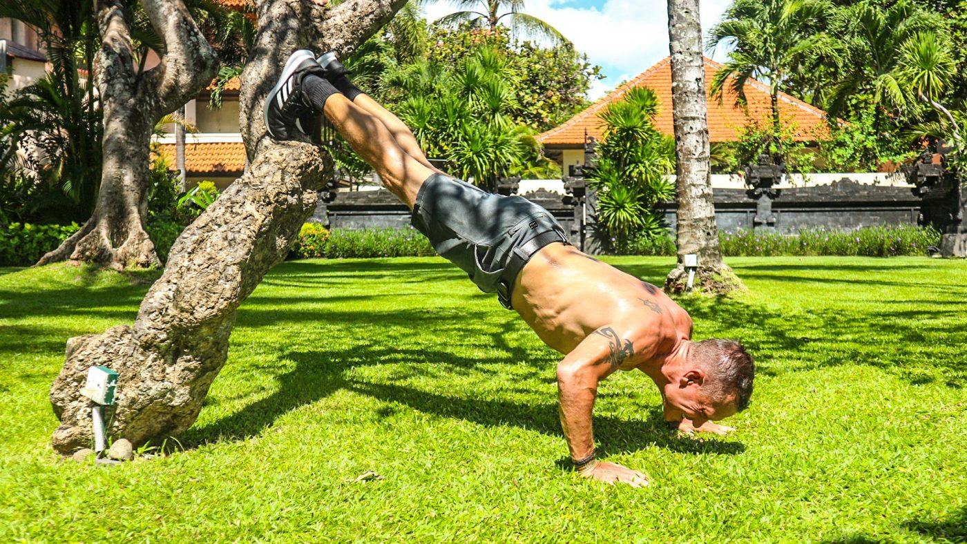 Reverse incline push-up on tree