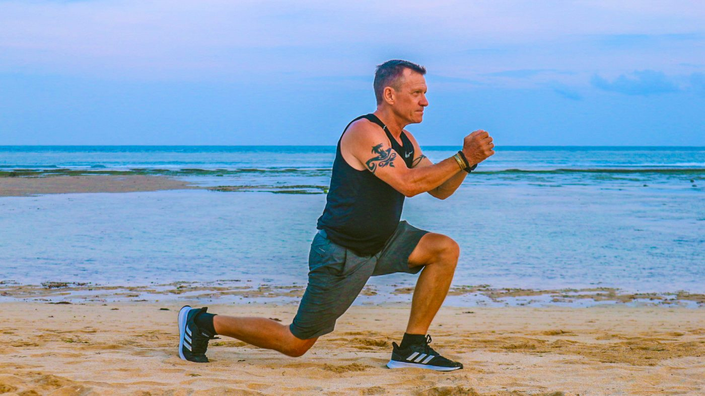 Lunging on the beach