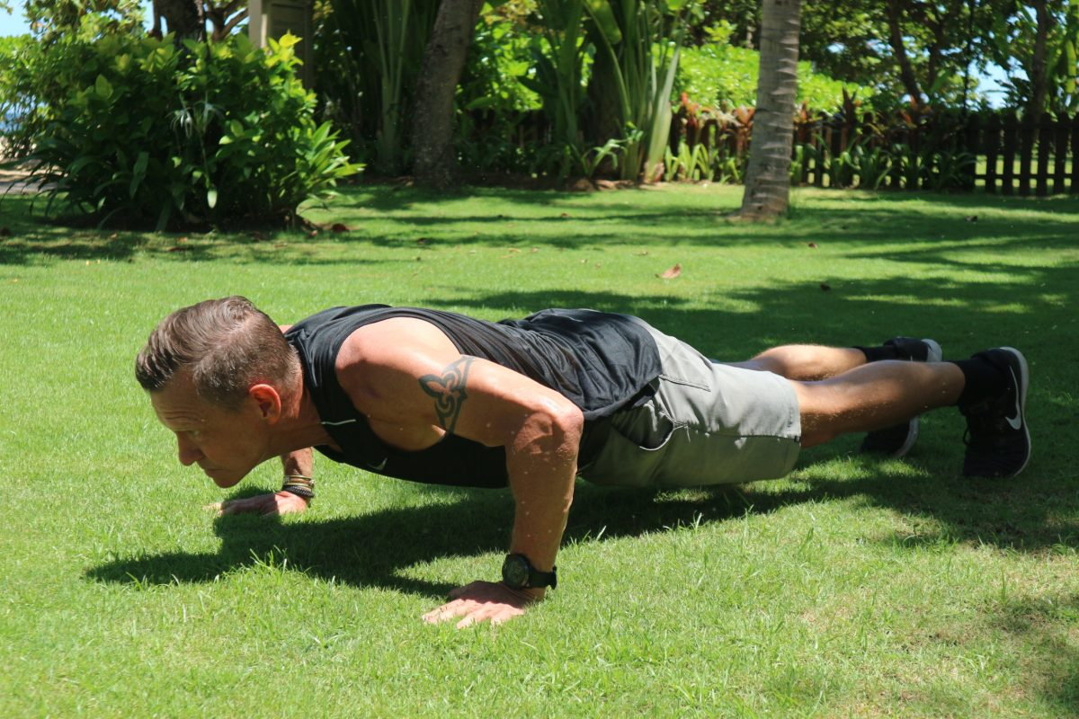 holding the push-up position