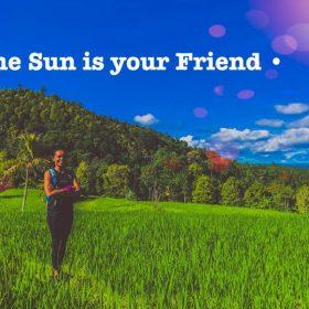 enjoying the sun in a field