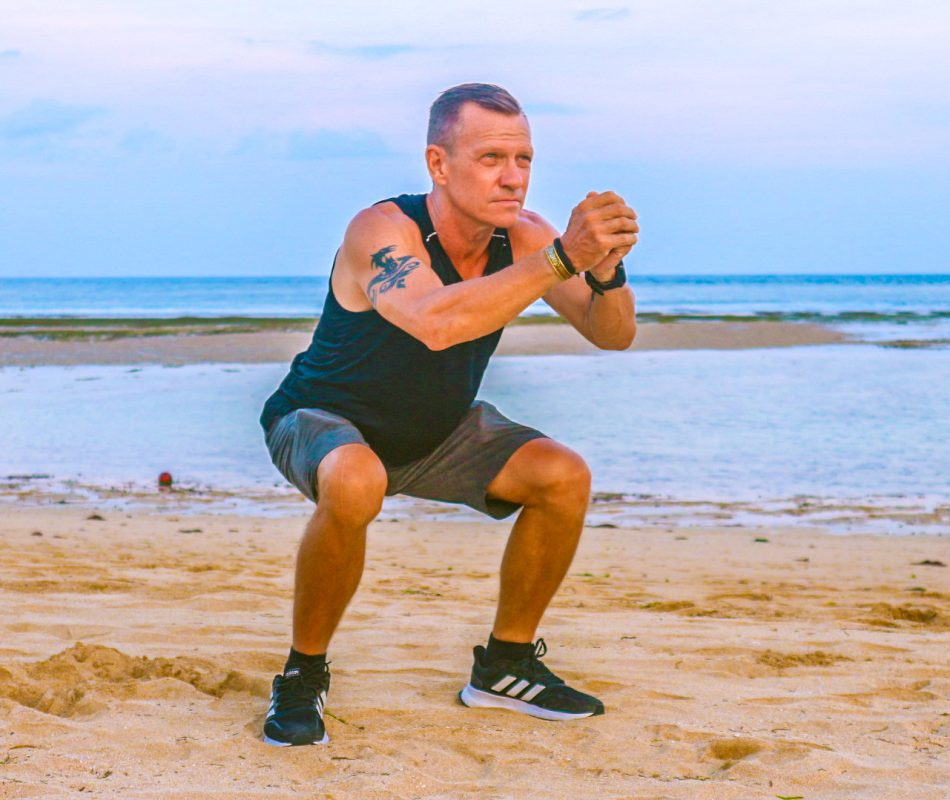 beach squats, are a great leg workout